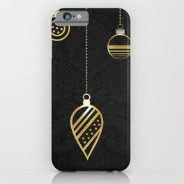 Decorative Gold Geometry On Black Damask iPhone Case