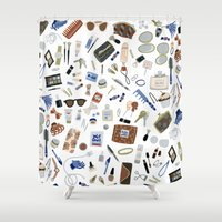 wallet Shower Curtains featuring Girly Objects by Yuliya