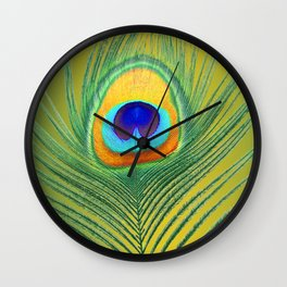 Citrus green peacocks feather Wall Clock