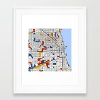 chicago map Framed Art Prints featuring Chicago by Mondrian Maps