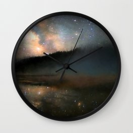 Milky Way Over Yellowstone Wall Clock
