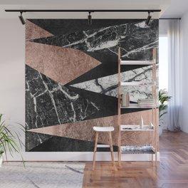Elegant Modern Marble, Rose Gold, & Black Foil Triangles Wall Mural