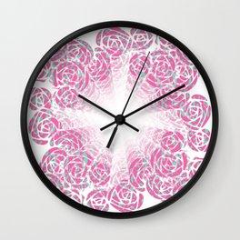 A Rush of Wild Roses Illusion Art Design Wall Clock