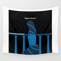 skyfall Wall Tapestries featuring No277-007-2 My Skyfall minimal movie poster by Chungkong