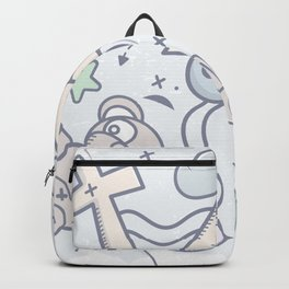 Cartoon Doodle All seeing eye. Background. Backpack