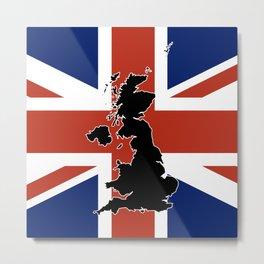 UK Silhouette and Flag Metal Print