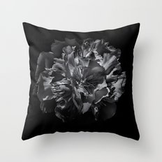Backyard Flowers In Black And White 25 Throw Pillow