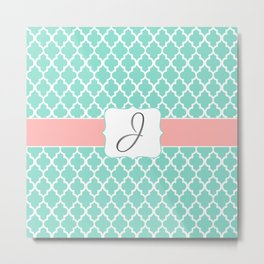 "Mint Moroccan Print + Soft Coral Accent + Silver ""J"" Monogram Metal Print"