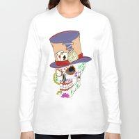 steam punk Long Sleeve T-shirts featuring Steam Punk Sugar Skull by J&C Creations