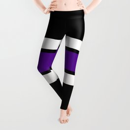 Team Colors...purple and white on black Leggings