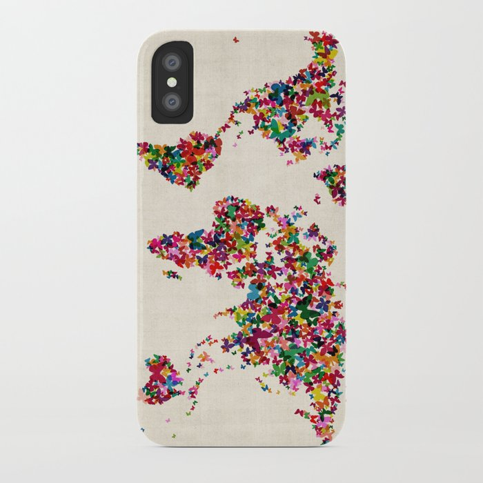 Butterflies Map of the World Map iPhone Case