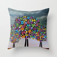 butterfly Throw Pillows featuring butterfly by mark ashkenazi