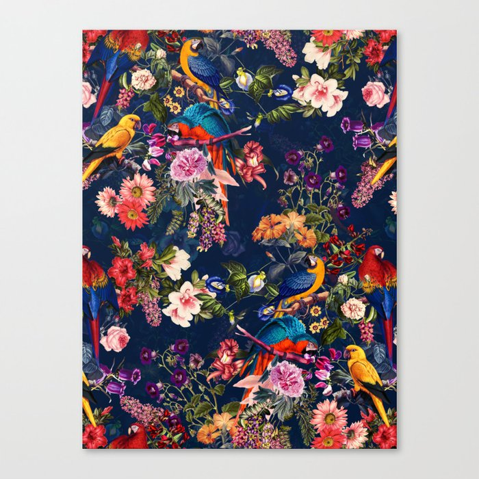 FLORAL AND BIRDS XII Canvas Print