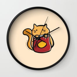 Cat with Chips. Wall Clock