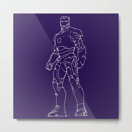 Iron man purple background handmade drawing Metal Print