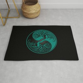 Teal Blue and Black Tree of Life Yin Yang Rug