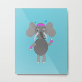 Fitness Elephant Metal Print