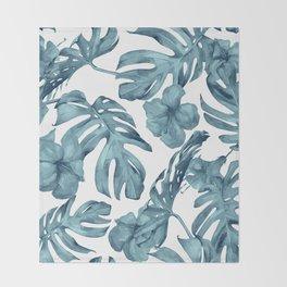 Teal Blue Tropical Palm Leaves Flowers Throw Blanket