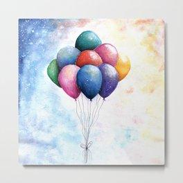 Balloons Watercolor Art illustration Metal Print