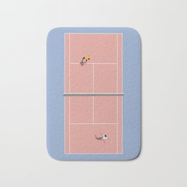 Playing Tennis   Pastel Colors Tennis Court  Bath Mat