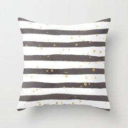 Modern gray yellow white watercolor splatters stripes Throw Pillow