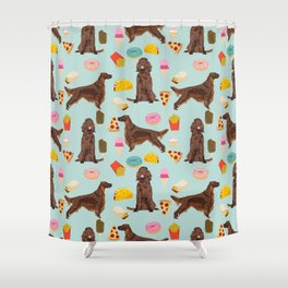 Irish Setter junk food pizza donuts dog breed cute custom pet portrait for dog lovers Shower Curtain