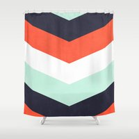 chevron Shower Curtains featuring Chevron. by A. Design
