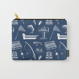 Gone Fishing // Navy Blue Carry-All Pouch