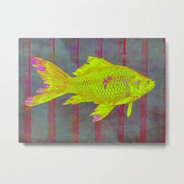 Gold Fish On Striped Background Metal Print