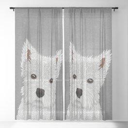 Cute West Highland Terrier Portrait Sheer Curtain