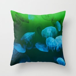 Moon Jellyfish - Blue and Green Throw Pillow