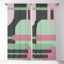 Art Deco Composition Pink and Green #3 Blackout Curtain