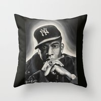 jay z Throw Pillows featuring Jay-Z by Sarah Painter