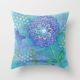 Purple Flower by Deborah Halcomb Throw Pillow