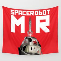 soviet Wall Tapestries featuring Retro Soviet minimalism space robot by Cardula