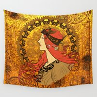 steampunk Wall Tapestries featuring Steampunk Nouveau by Nana Leonti