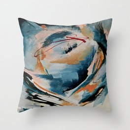 Drift 6: a bold mixed media piece in blues, brown, pink and red Throw Pillow