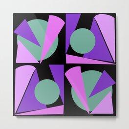Purple triangles on black background retro vibe Metal Print