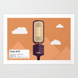 Rode NTR Active Ribbon Microphone Illustration Print Art Print