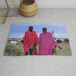 Two Maasai Teens Tending to Cattle in Africa Rug