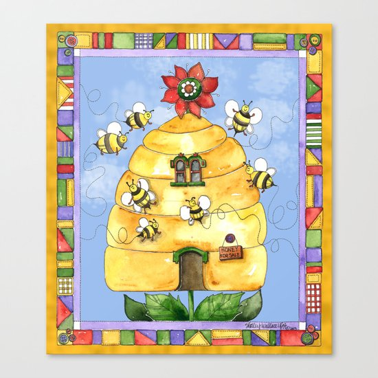 Busy Bees with Border Canvas Print