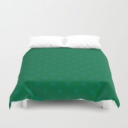 Teal Green on Cadmium Green Snowflakes Duvet Cover