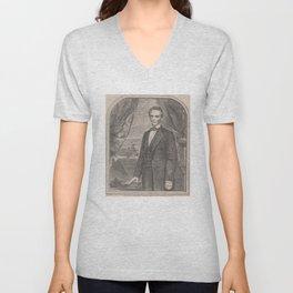 Vintage Abraham Lincoln Illustrative Portrait (1860) Unisex V-Neck