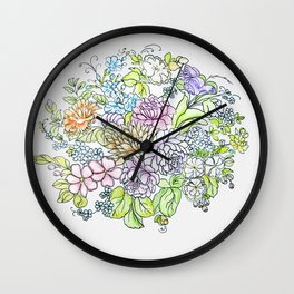 arrangement of flowers in pastel shades on a white background . illustration Wall Clock