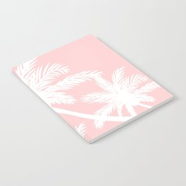 Tropical summer simple white palm trees on girly pink Notebook