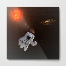 Astronaut And Sun Metal Print