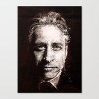 jon contino Canvas Prints featuring Jon Stewart by Fay Helfer