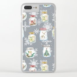 Christmas Jars Grey Clear iPhone Case