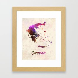 Greece in watercolor Framed Art Print