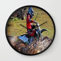 moto Wall Clocks featuring Moto Cross by Lone Wolf Photography